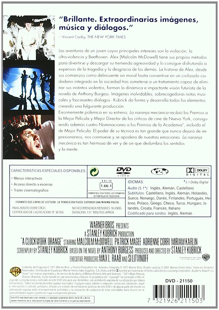La Naranja Mecánica [DVD]: Amazon.es: Malcom Mcdowell, Patrick Magee, Ariednne Corri, Michael Bates, Varios, Stanley Kubrick: Cine y Series TV