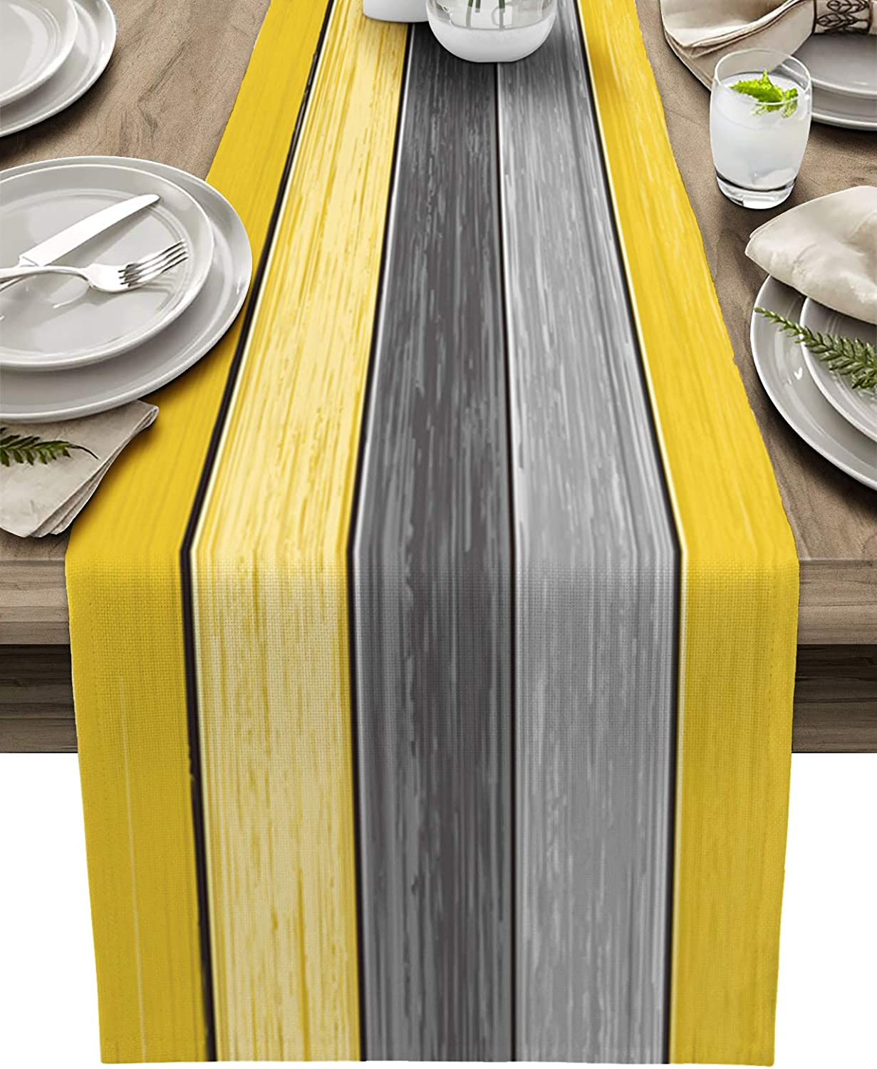 Farmhouse Cotton Linen Table Runner Dresser Scarf Extra Long 108 inches- Retro Rustic Barn Wood Texture Ombre Lemon Yellow and Gray Non-Slip Rectangle Settings Decor for Kitchen Home Dining Holiday