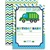 Amazon garbage truck birthday party invitations fill in style garbage truck birthday party invitations for boys ten 5x7 fill in cards filmwisefo Image collections