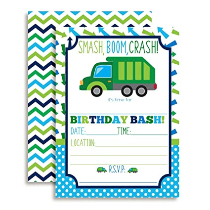 Amazon garbage truck birthday party invitations for boys ten 5 garbage truck birthday party invitations for boys ten 5quotx7quot fill in cards filmwisefo