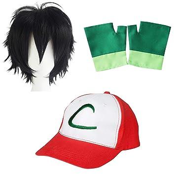 Pokemon Trainer Ash Ketchum Cap Gorra + Guantes + Peluca - Conjunto de  Disfraces para Adultos 36ce2d0f2b0