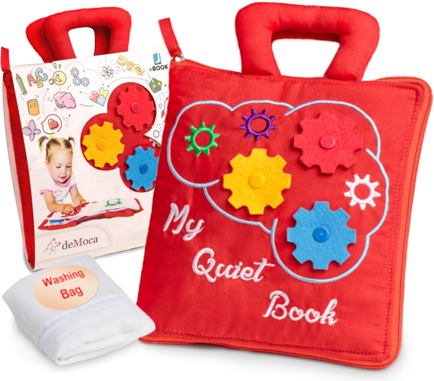 deMoca Montessori Activity Quiet Book - Toddlers Travel Toys Soft Busy Book - Early Preschool Learning Sensory How to Basic Life Skills Activities for Boys & Girls + Zipper Bag + eBook (Red)