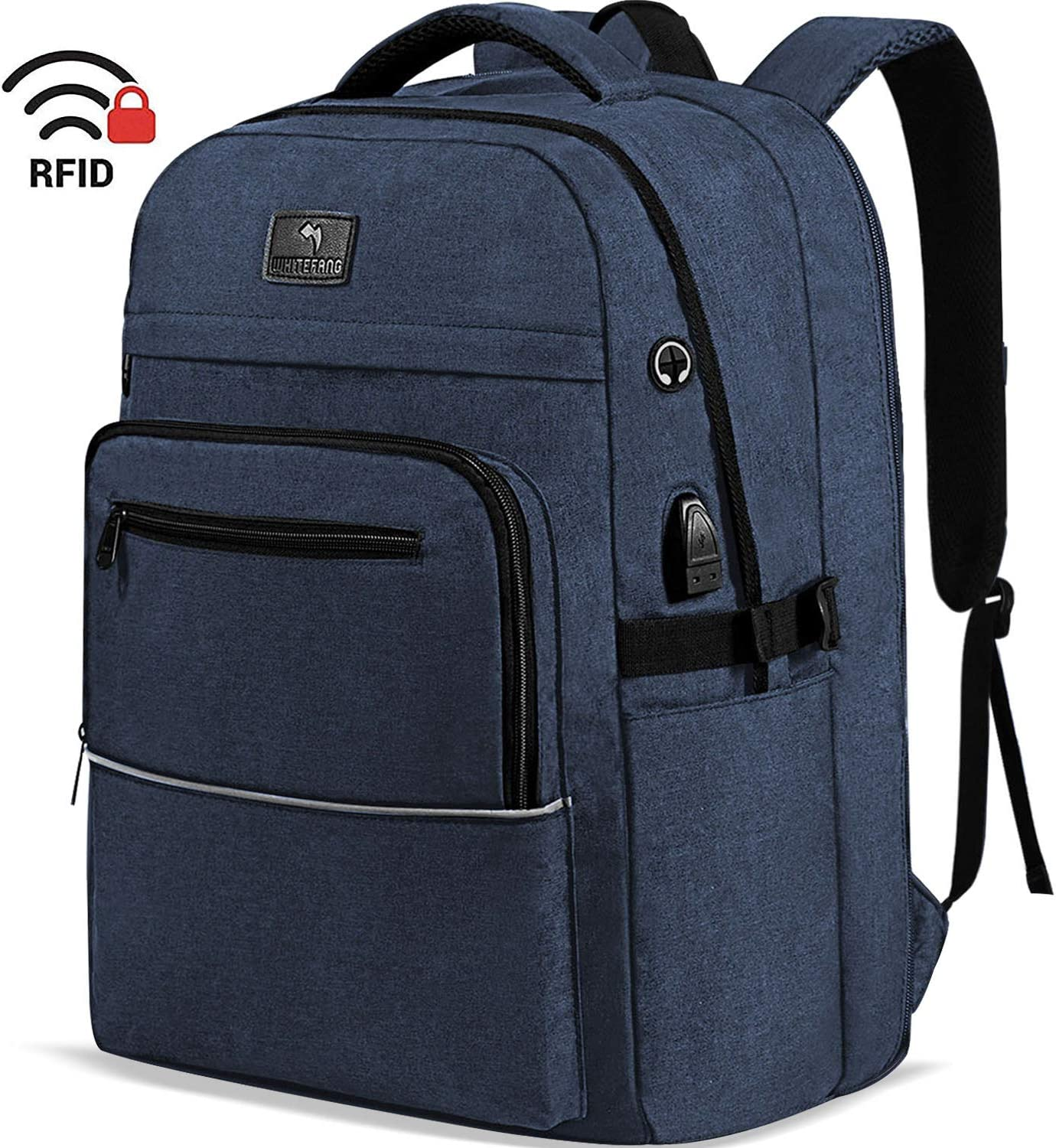 Laptop Backpack,WhiteFang 17.3 Inch Extra Large TSA Friendly Business Travel Laptop Backpack with USB Charging Port, RFID Pockets Water Resistant Big School Backpack for Women & Men Fits 17.3 Inch Laptop-Blue