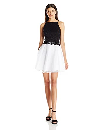 Amazon.com: Jump Juniors Tulle Skirt Party Dress with Glitter Lace ...