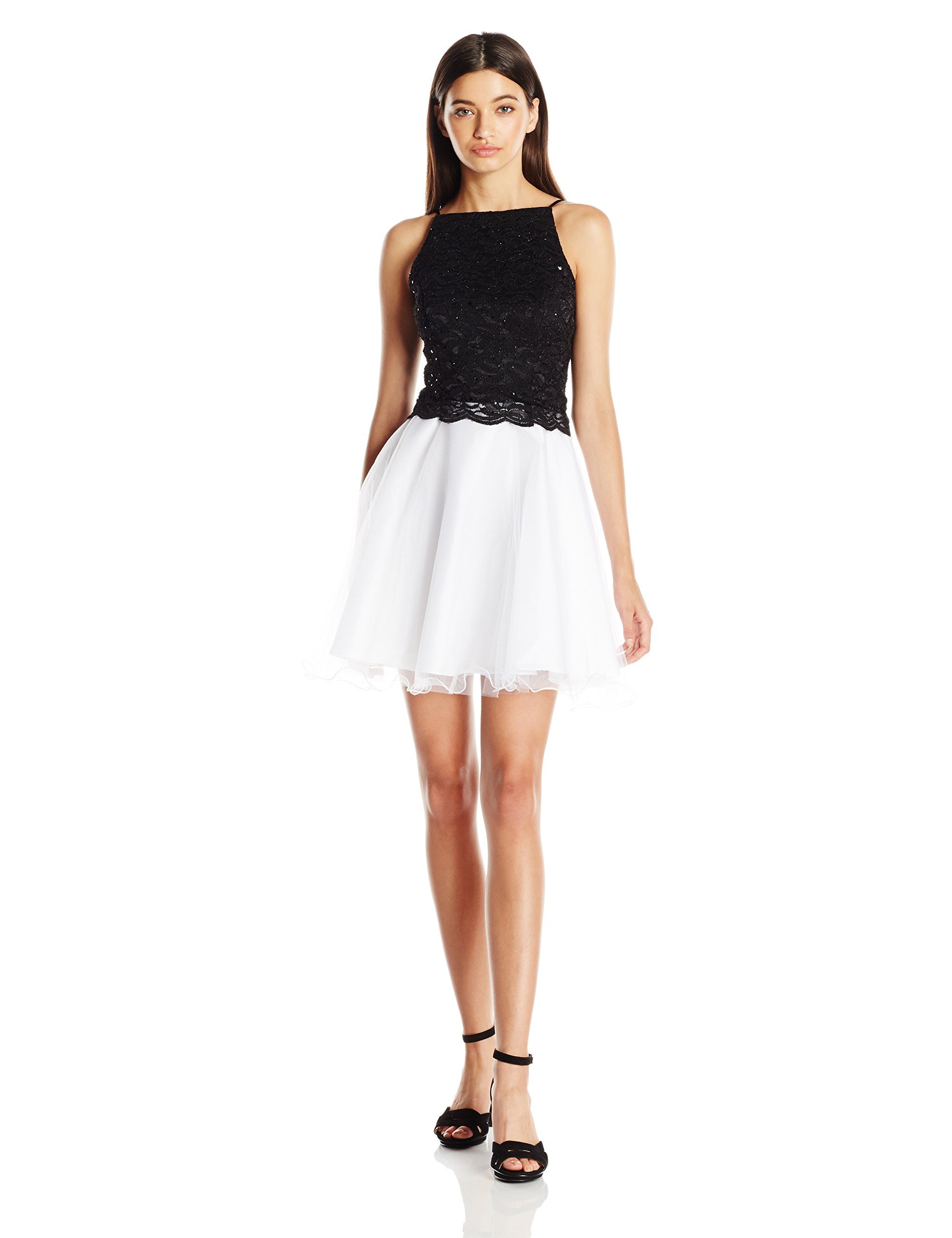 Jump Juniors Tulle Skirt Party Dress with Glitter Lace Top, Black/White, 5
