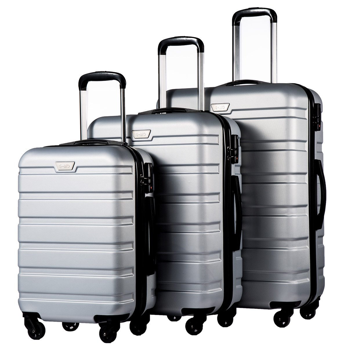 Coolife Luggage 3 Piece Set Spinner Trolley Suitcase Hard Shell Lightweight Carried On Trunk 20inch 24inch 28inch(silver grey) by Coolife