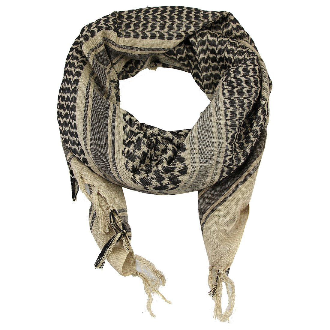 100% Cotton Tactical Shemagh Military Desert Shawl Head Neck Scarf Wrap For Men Women, Beige, One Size