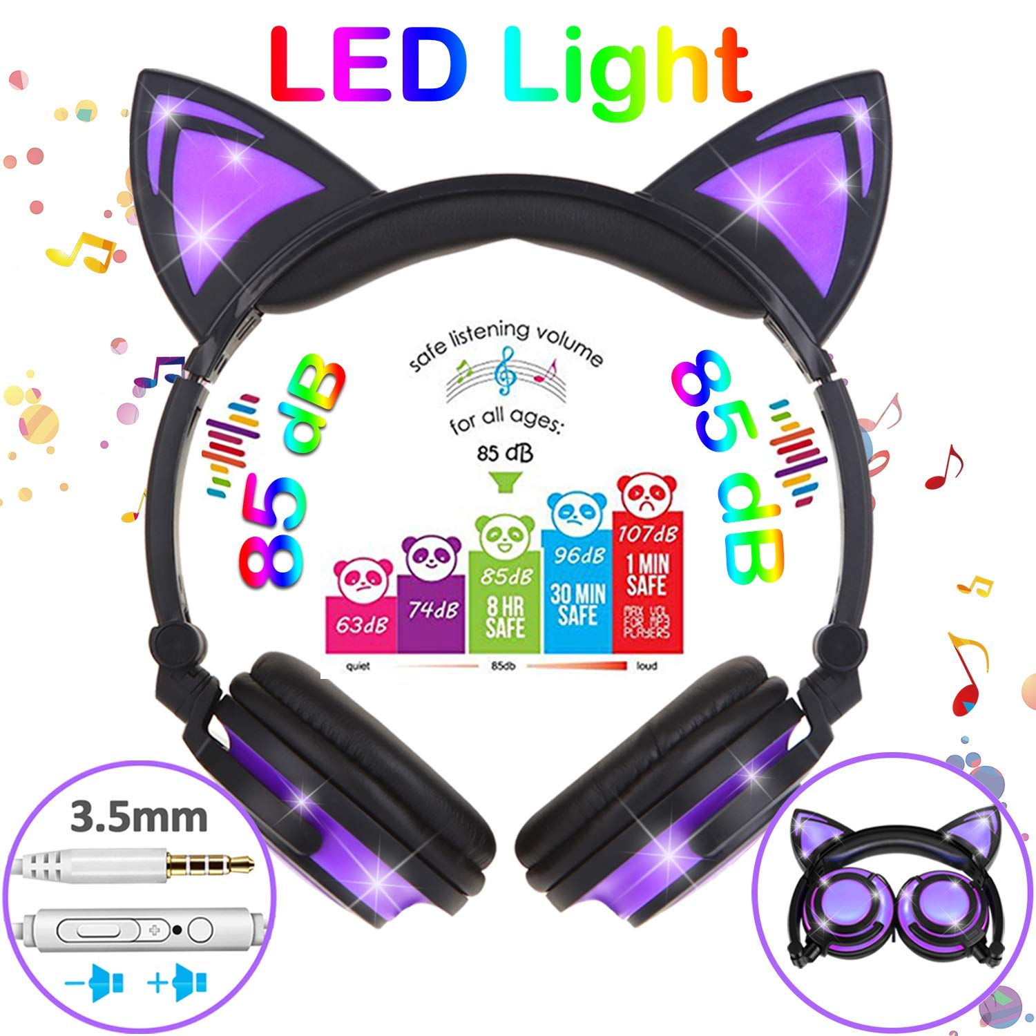 Auriculares Kids Glow in The Dark Cat Ear con LED 85dB Microfono Over/On Cat Earphones para Toddlers Girls Boys Earpiece