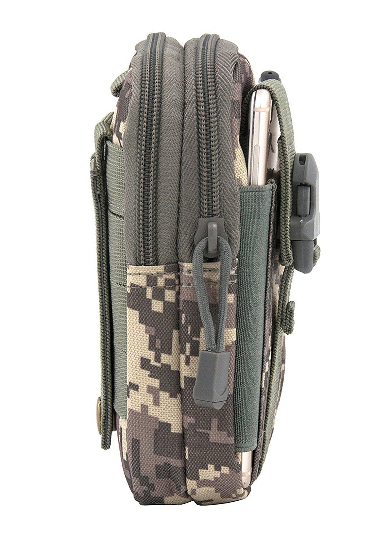 Aioloc Tactical Pouch Multipurpose Molle Outdoor Tactical Gear Bag Waist Belt Bag Wallet Pouch Purse Phone Case with Zipper