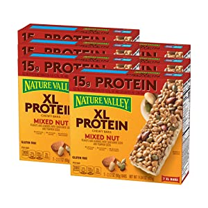Nature Valley Chewy Granola Bar, XL Protein, Gluten Free, Mixed Nut, 7 Bars, 2.12 Ounce each, 14.84 Ounce (Pack of 6)