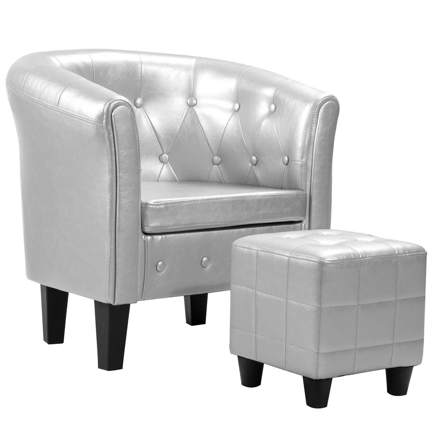 Harper&Bright designs Armchair Modern Upholstered Living Room Club Chair Silver