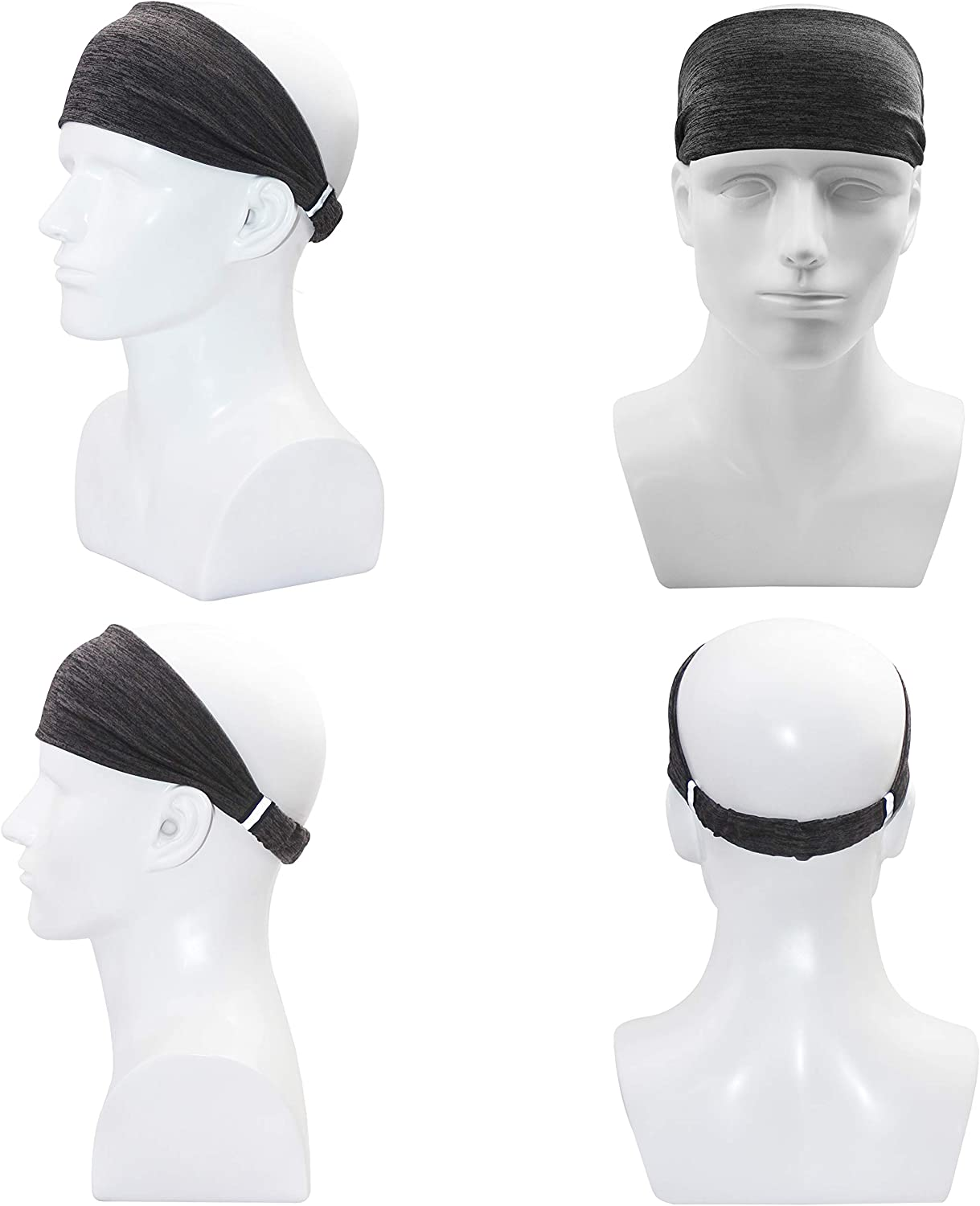 Obacle Headbands for Men Women Workout Sweat Bands Headbands Non Slip Moisture Wicking Sweatbands Reflective for Outdoor Sports Running Yoga Fitness Gym Jogging Exercise Cycling