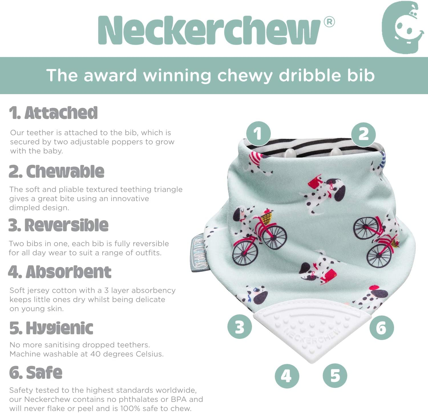 Cheeky Chompers CC186/ Bavoir Bandana pour la dentition Neckerchew
