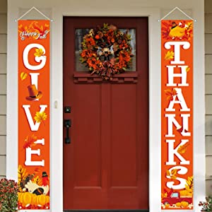 MAIAGO Thanksgiving Decorations - Give Thanks Porch Sign - Fall Harvest Door Sign Turkey Pumpkins Maple Leaf Autumn Decor for Home, Door, Yard, Indoor & Outdoor Fall Thanksgiving Party Decorations