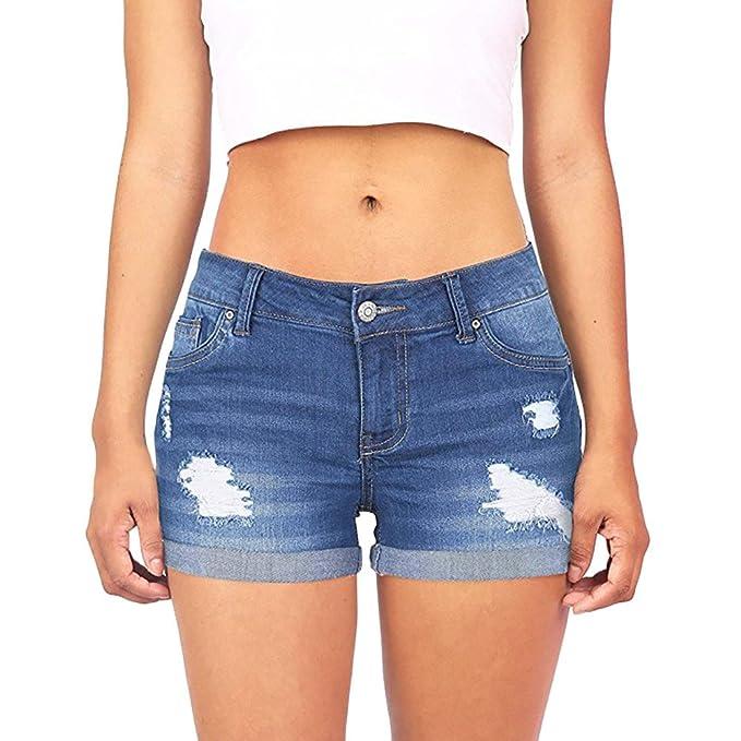 KEERADS Damen Shorts Sommer Jeans Destroyed Denim Kurze Hose Slim Fit Bermuda Shorts