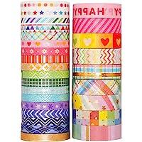 YUBX 27 Rolls Washi Tape Set,Foil Gold Skinny Decorative Masking Tape,8MM/15MM Wide Scrapbook Tape for DIY Craft Art…