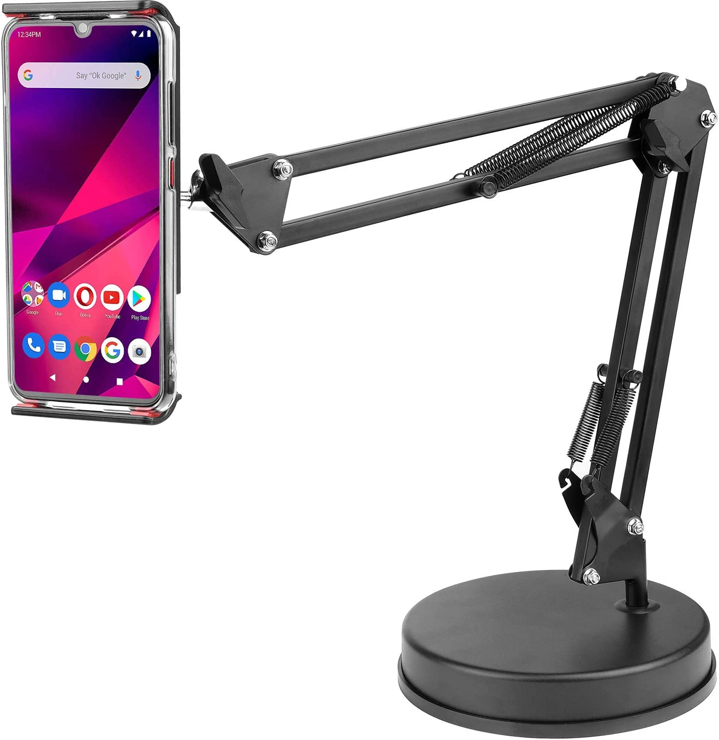 Overhead Phone Mount Stand ChromLives Phone Video Stand Articulating Arm Phone Mount Table Top with Base Adjustable 360° Cell Phone Tablet Holder Mount Desktop Compatible with Phones, Tablets, iPad