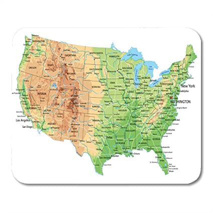 Amazon.com : Emvency Mouse Pads USA High Detailed United States of ...