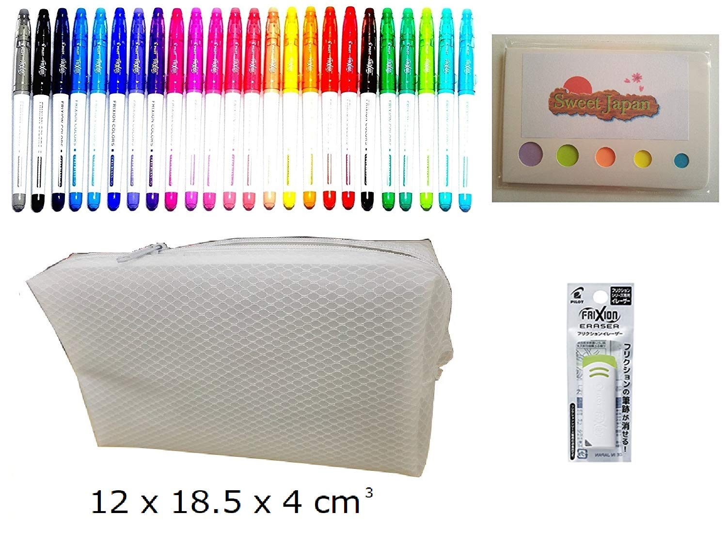 Pilot FriXion Colors Erasable Marker Pen, 24 colors set, individual eraser for Frixion, original sticky and pen case