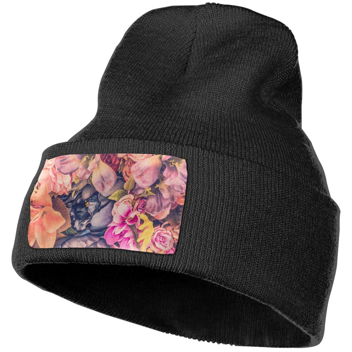 PCaag7v Beautiful Background with Different Flowers Beanie Hat Winter Solid Warm Knit Unisex Ski Skull Cap