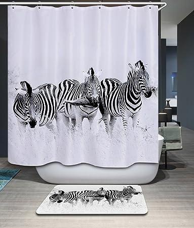 Amazon.com: Home Fashion Three Zebra Shower Curtain, Size Width X ...