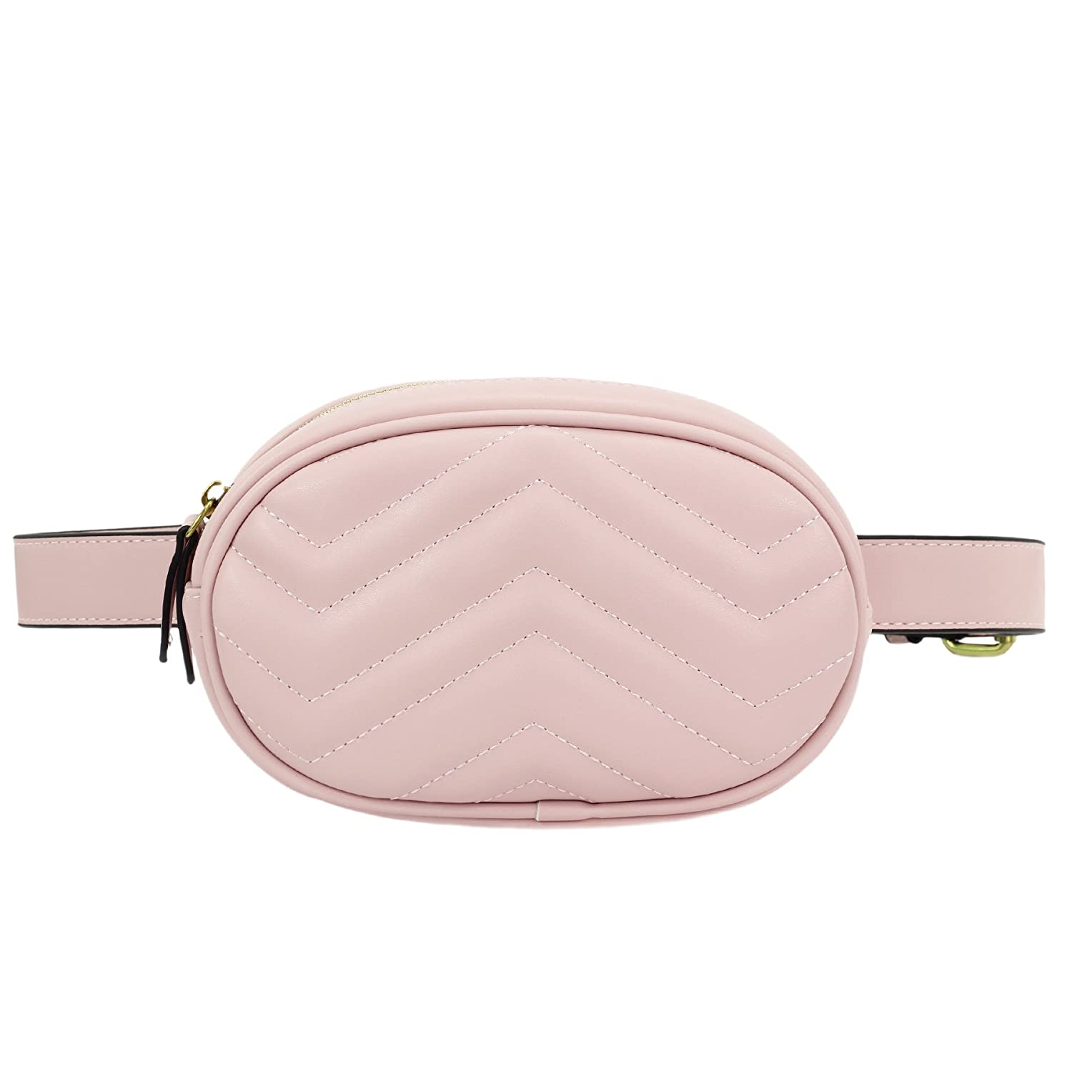 ZORFIN Women Fashion Quilted Leather Pink Fanny Pack Classy Wasit Bag with Two Belts  Pink