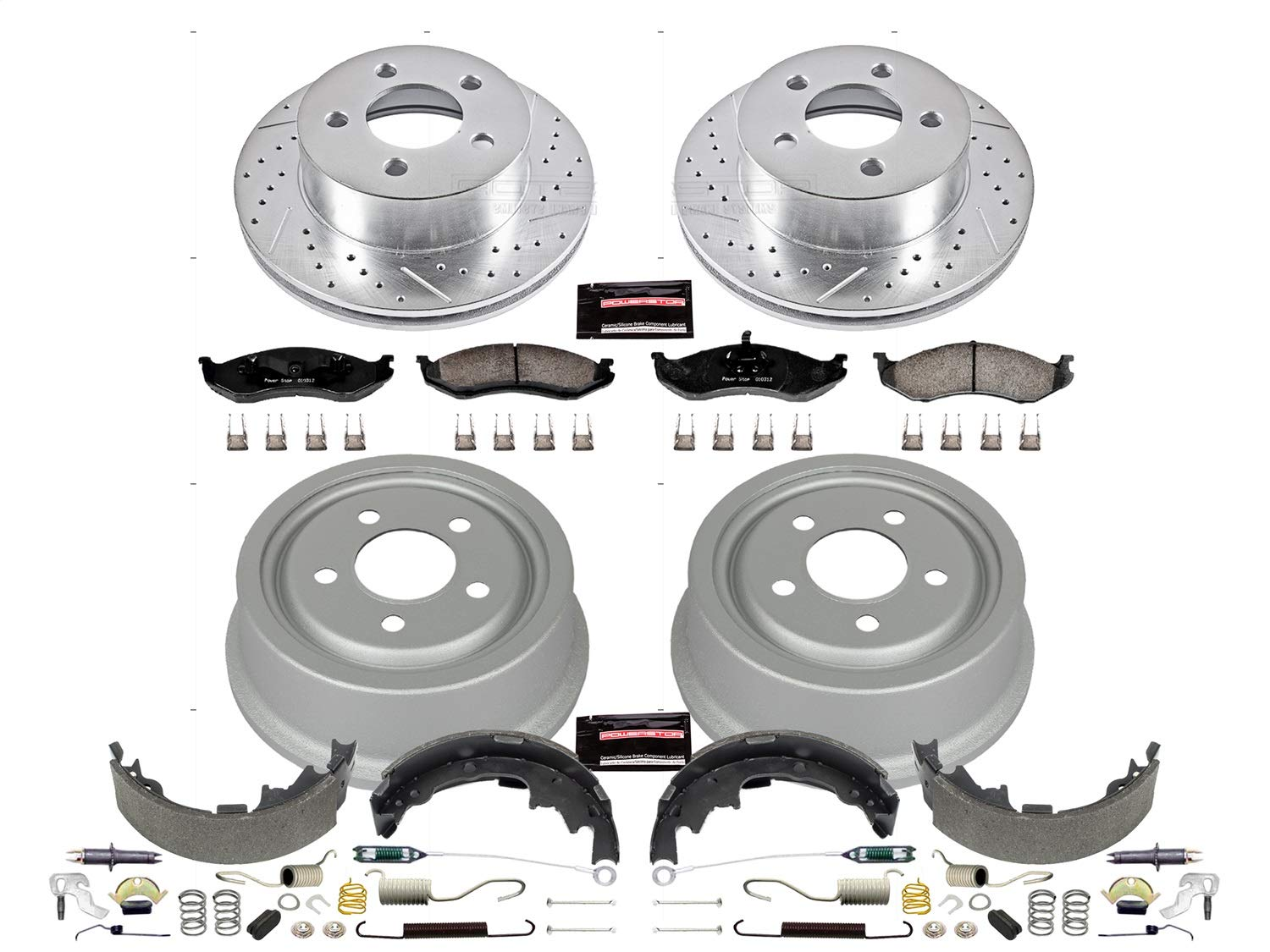 Rotor Power Stop Front /& Rear K15215DK Performance Pad Drum and Shoe Kits