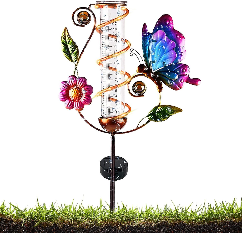 Oulsun Rain Gauge Outdoor, Solar Powered Brid Rain Gauge Outdoor Decorative for Garden, Rain Measure Gauge for Yard, Deck, Lawn, Landscape (Butterfly)