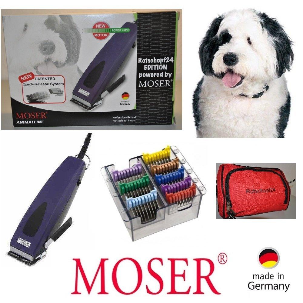 Rotschopf24 Edition!: Hochwertige Moser Hundeschermaschine REX1233 + 8 Metall-Aufsätze. Ratsam bei langen + krausem Fell.