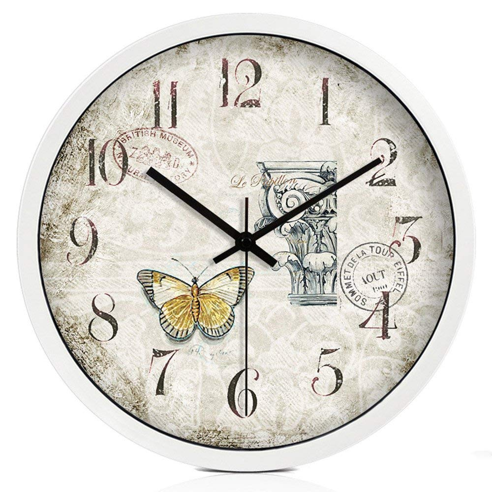 CWJ Clock- Wall Clock Metal Simple Personality Quiet Clock Mediterranean Large Creative Wall Clock Silent Quartz Clock in Living Room Simple and Modern Electronic Clock Home Pocket Watch Wall Decorat
