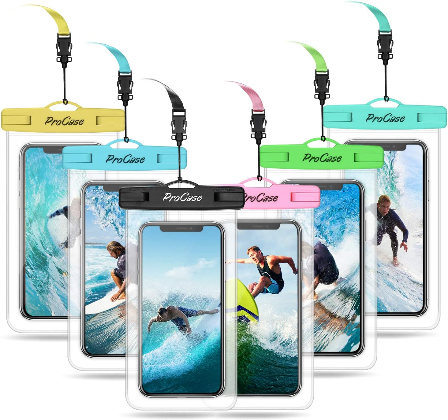 "ProCase Universal Waterproof Pouch Cellphone Dry Bag Underwater Case for iPhone 11 Pro Max Xs Max XR 8 7 SE 2020 Galaxy S20 Ultra up to 6.9"", Waterproof Phone Case for Beach Snorkeling -6 Pack"