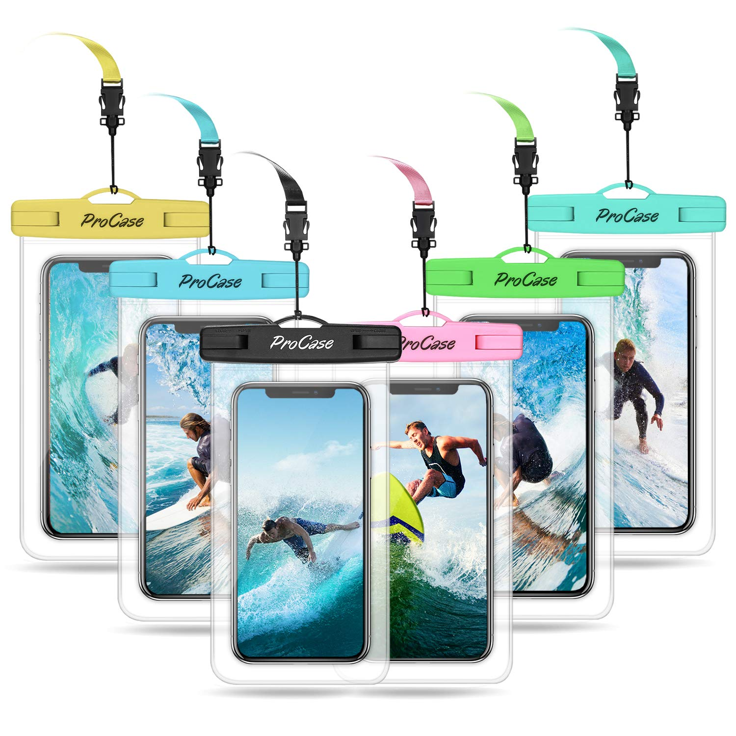 ProCase Universal Waterproof Pouch Cellphone Dry Bag Underwater Case for iPhone Xs Max XR X 8 7 Galaxy up to 6.8'', Waterproof Phone Case for Beach Swimming Snorkeling Water Park -6 Pack by ProCase