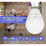 ETbotu Bulb Lamp Wireless IP Camera WiFi 960P Panoramic FishEye Home Security CCTV Camera 360 Degree Night Vision Camera 1.3 Million Single Light Source White Light