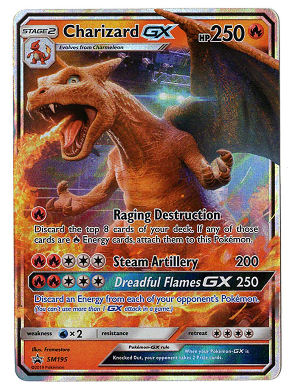 Charizard GX - SM195 - Detective Pikachu Promo Card - Holo FOIL - NM/M - 100% Guaranteed Authentic