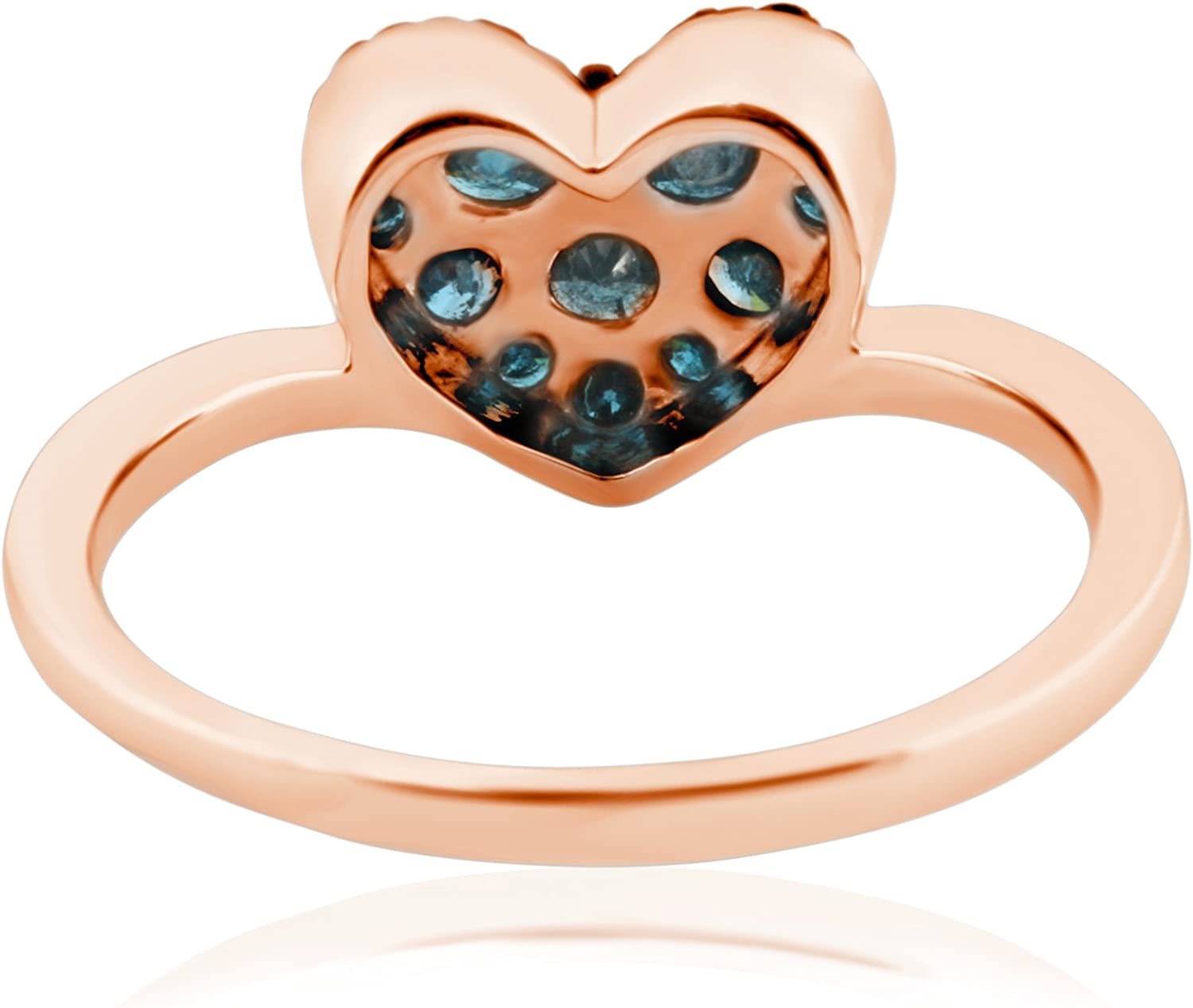 Prism Jewel 0.75Ct Blue Diamond Heart Shaped Valentine Ring