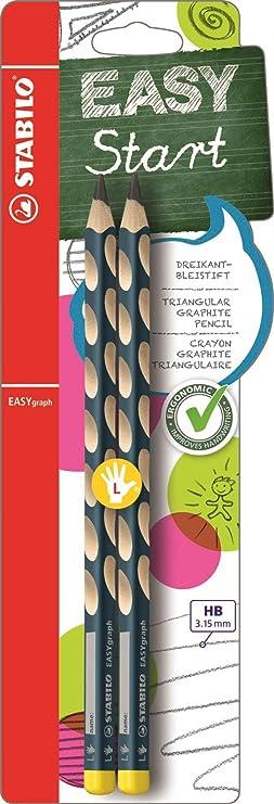 Ergonomischer Dreikant-Bleistift für Linkshänder - STABILO EASYgraph in petrol - Härtegrad HB - 2er Pack