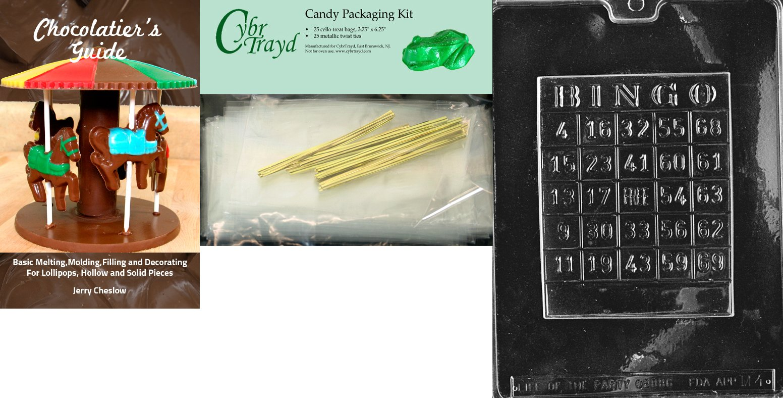 Cybrtrayd ''Bingo Card'' Miscellaneous Chocolate Mold with Chocolatier's Bundle, Includes 25 Cello Bags and 25 Gold Twist Ties by CybrTrayd