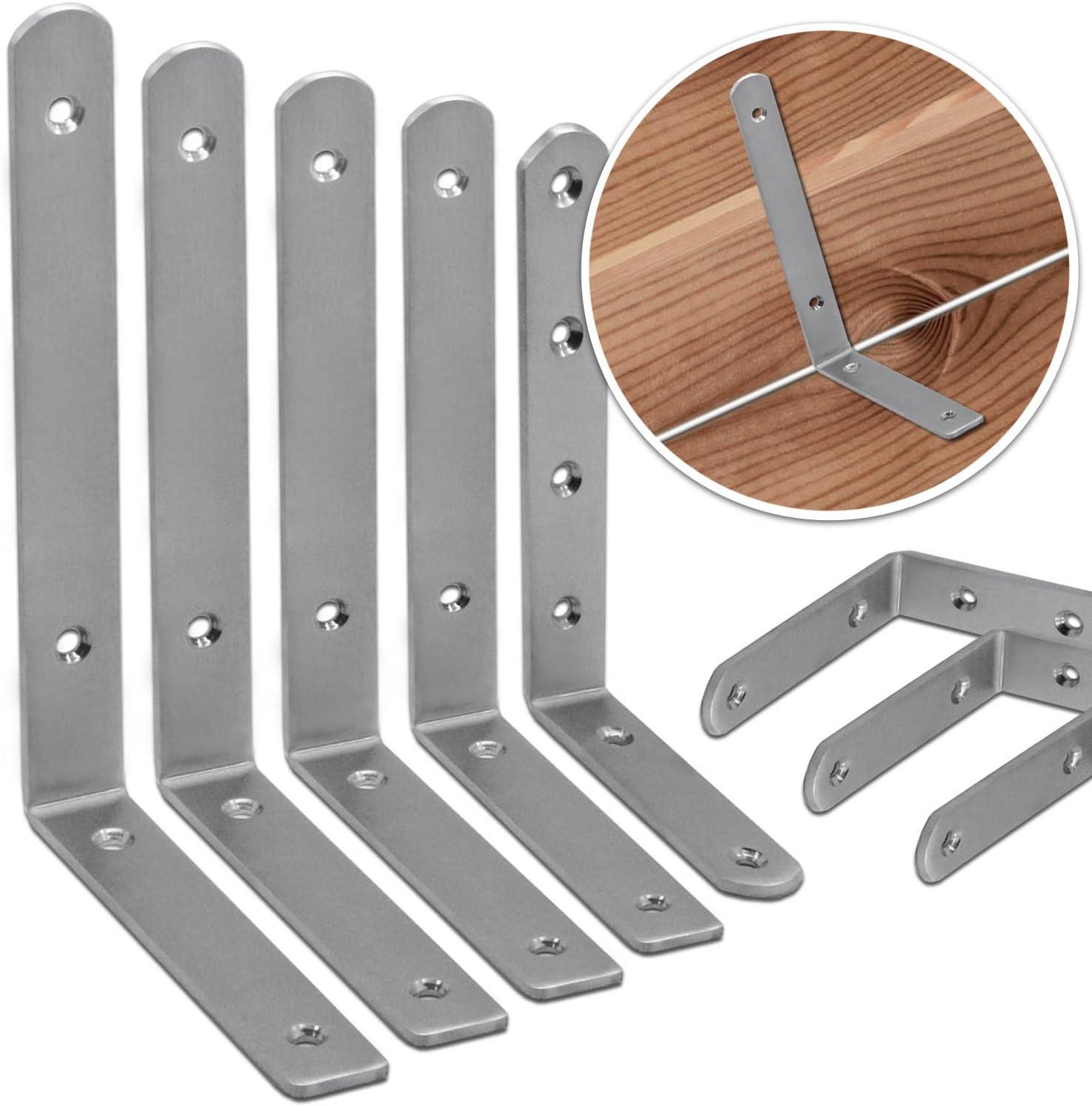 Variante:10 St/ück Eck-Winkel-Verbinder Edelstahl Lochplatte Regaltr/äger Halter Holz-Verbindung Balken-Winkel Scharniere Set Stabil Massiv 150mm x 100mm