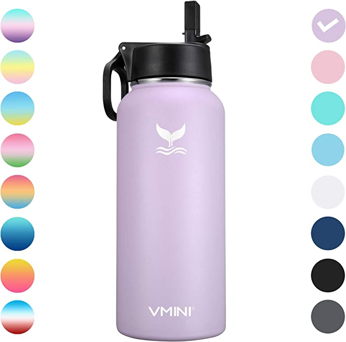 Vmini Water Bottle with New Wide Handle Straw Lid, Wide Mouth Vacuum Insulated 18/8 Stainless Steel, 32-40 oz