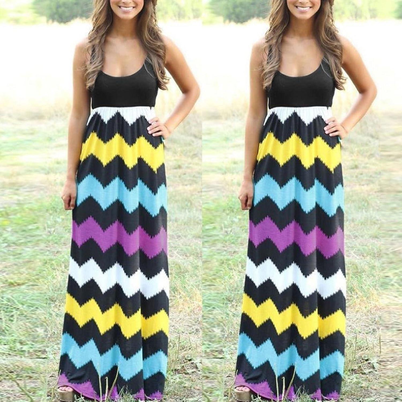 efa558d6db7896 Jaysis Damen Kleid Gestreift Lange Boho Kleid Strand Sommer Maxikleid  Partykleid S-3XL: Amazon.de: Bekleidung