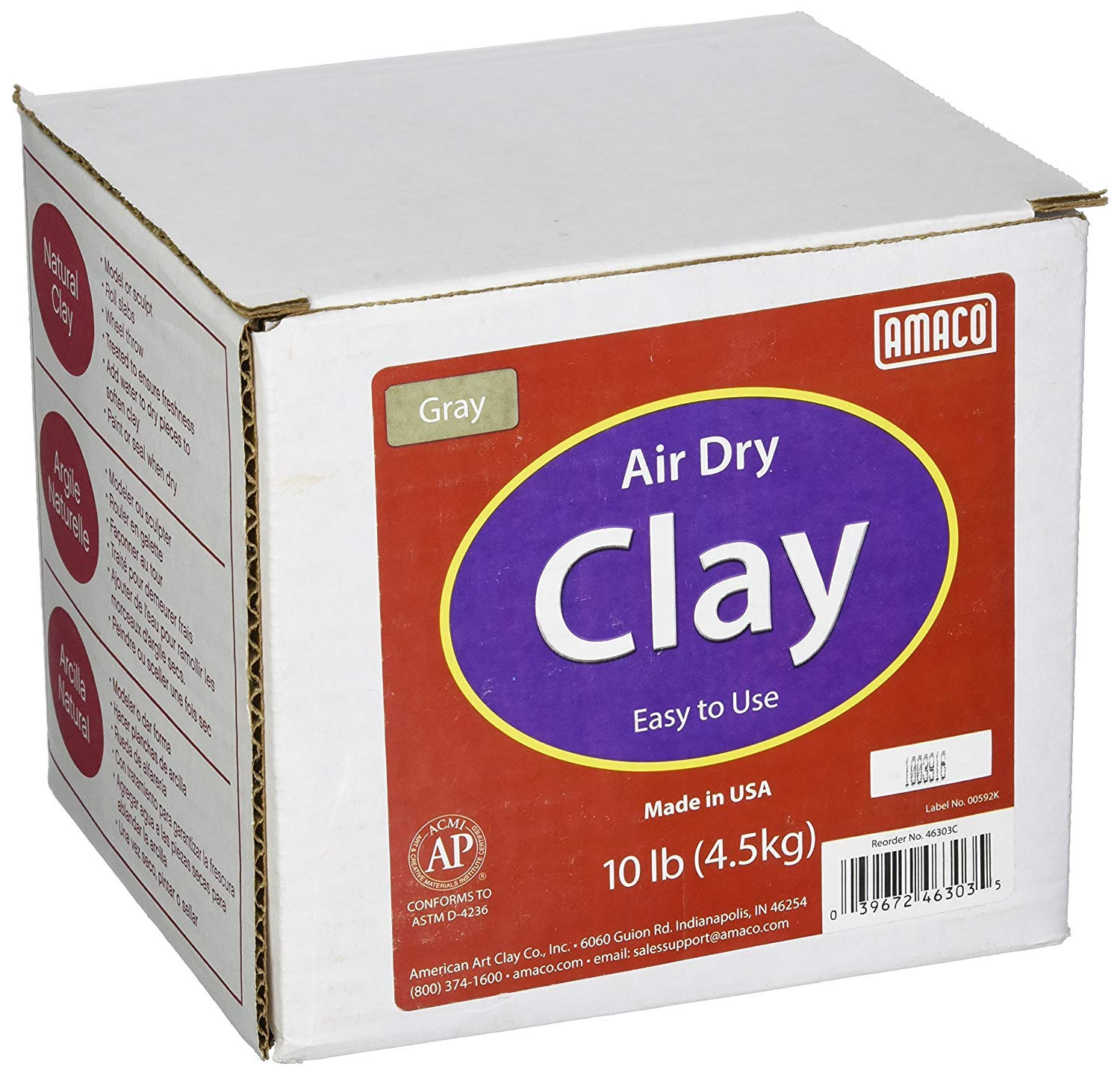 AMACO 4630-3C Air Dry Modeling Clay, 10-Pound, Gray (Pack of 3) by AMACO (Image #2)