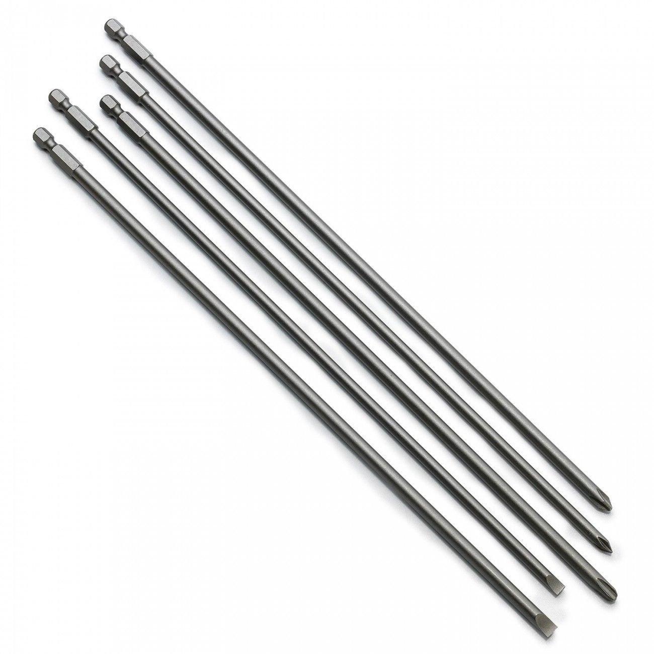 J&R Quality Tools 5 Pc Super Long S2 Phillips Screwdriver Bit Set 12in