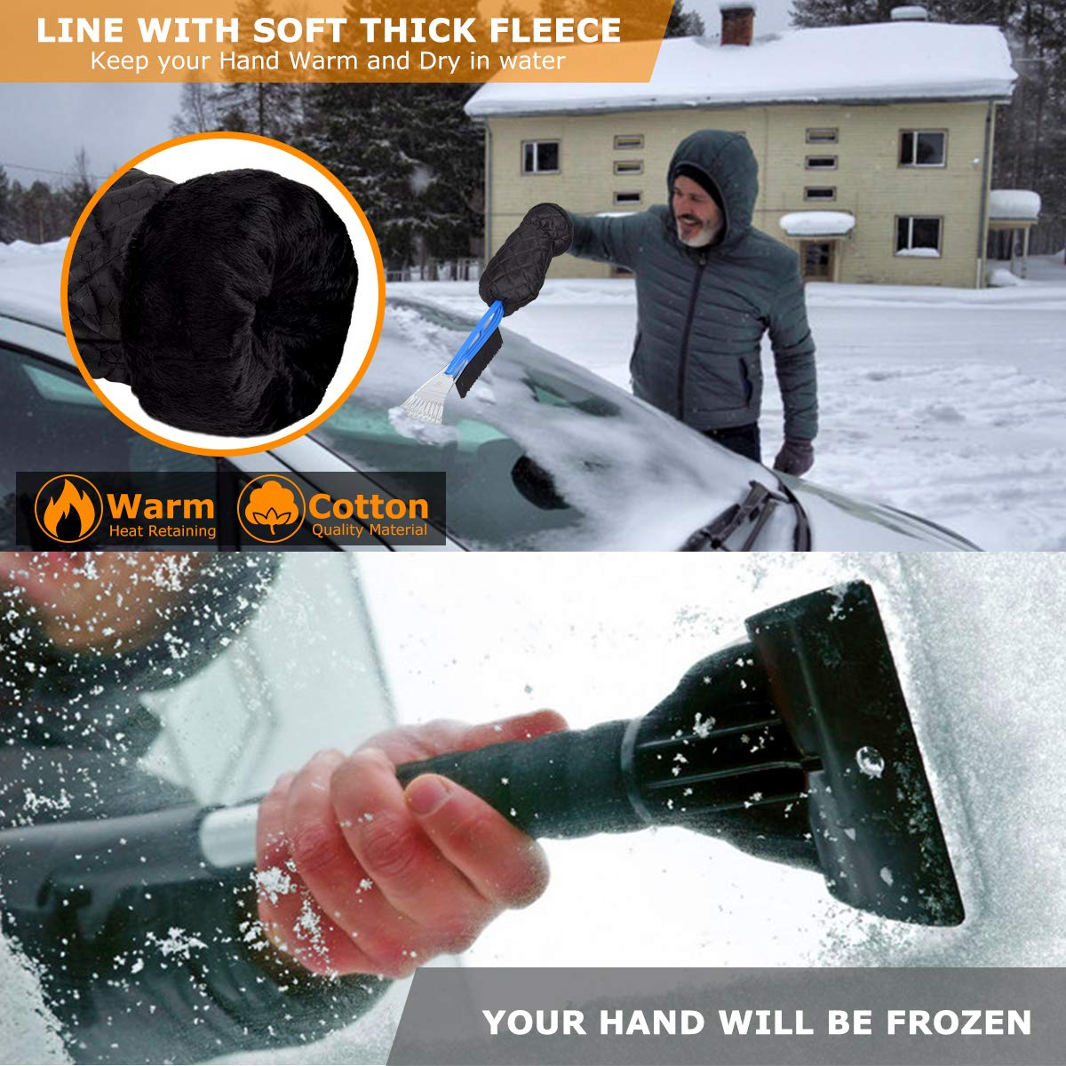 AGOESH Ice Scraper Mitt for Car Windshield with Brush and Scraper Thick Fleece /& Waterproof and Works Best on Any Size Vehicle Lightweight Tough Durable Scratch-Free