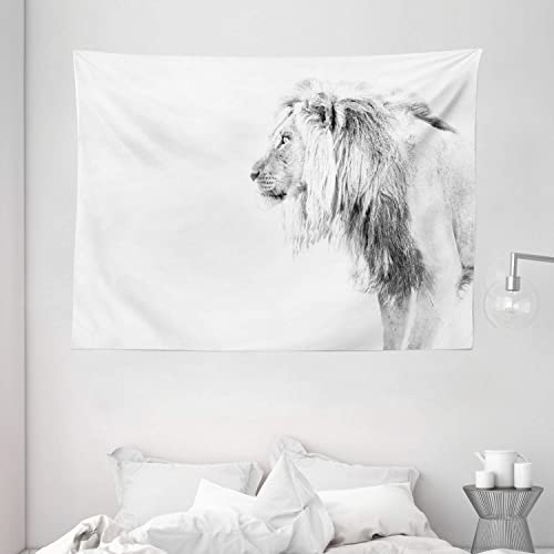 Lunarable Lion Tapestry, Black and White Hand Drawn Lion Surveying for Prey Majestic Animal Royal Beast King, Wide Wall Hanging for Bedroom Living Room Dorm, 80 X 60 , White Black