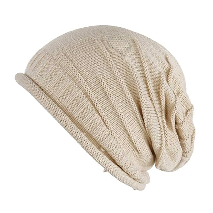 9636380d962 FUNOC Unisex Women Men Winter Warm Ski Knitted Crochet Baggy Beanie Hat Cap  Beret at Amazon Women s Clothing store