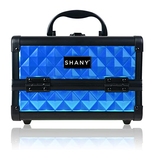 SHANY Mini Makeup Train Case With Mirror - Peacock Blue
