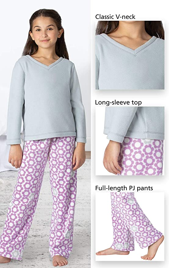 PajamaGram Big Girls Pajamas Cozy Snuggle Fleece Pajamas Girls