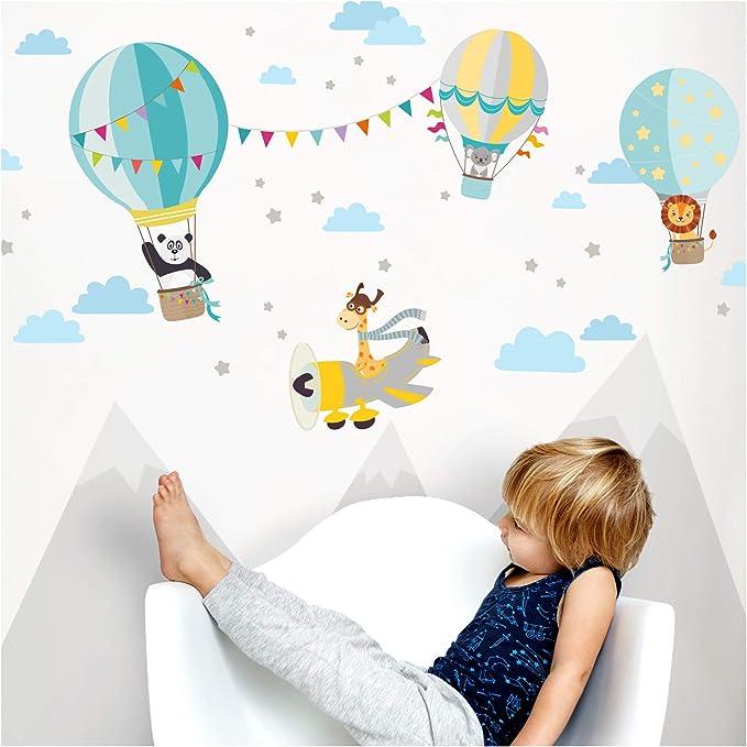Little Deco Sticker mural DL502 pour chambre denfant Motif montgolfi/ères Bleu//gris 55 x 28 cm l x h I Nuages /étoiles gar/çon Sticker mural chambre de b/éb/é