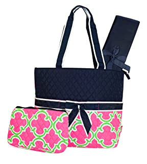 NGIL Quilted Diaper Bag 3-Piece Set, Striped Vine Print (Coral Green) N. Gil 2121