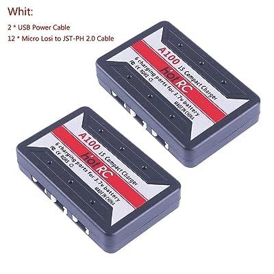 2pcs A100 1S LiPo Batterie USB Chargeur 4.2V LiPo pour JST-PH 2.0 et Micro Losi Connecteurs Minuscule Whoop Quadcopter